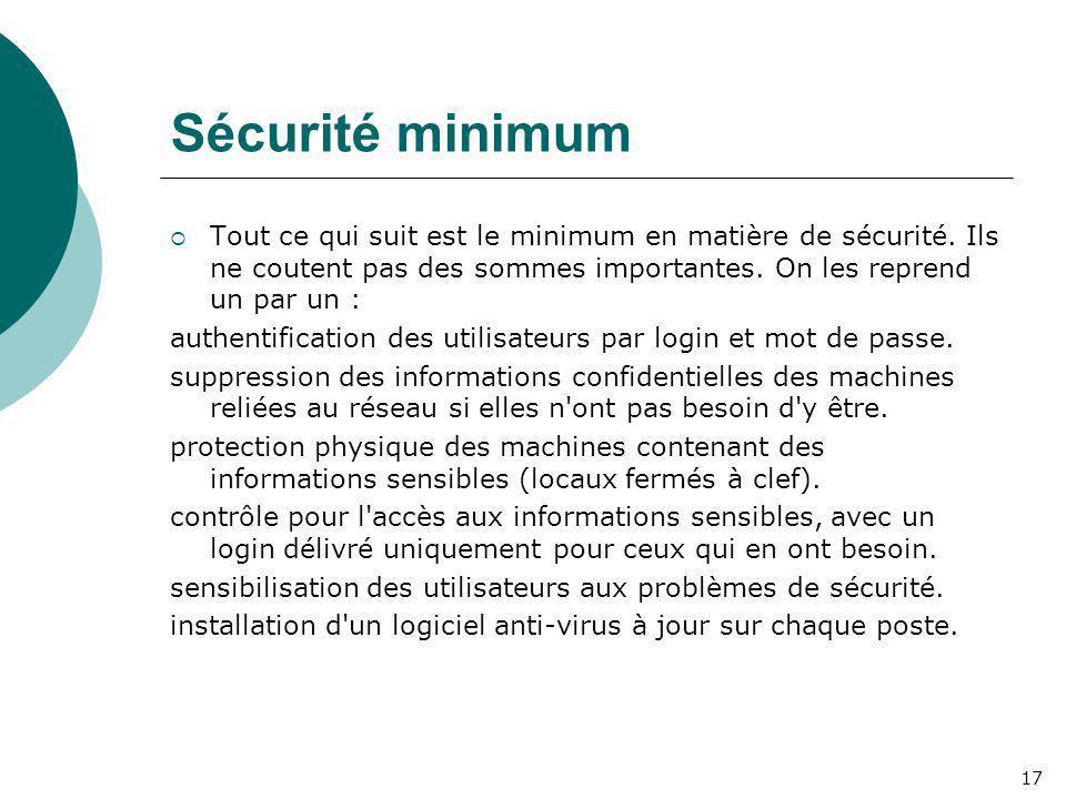 Sécurité minimum  Tout ce qui suit est le minimum en matière de sécurité. Ils ne coutent pas des sommes importantes. On les reprend un par un : authe