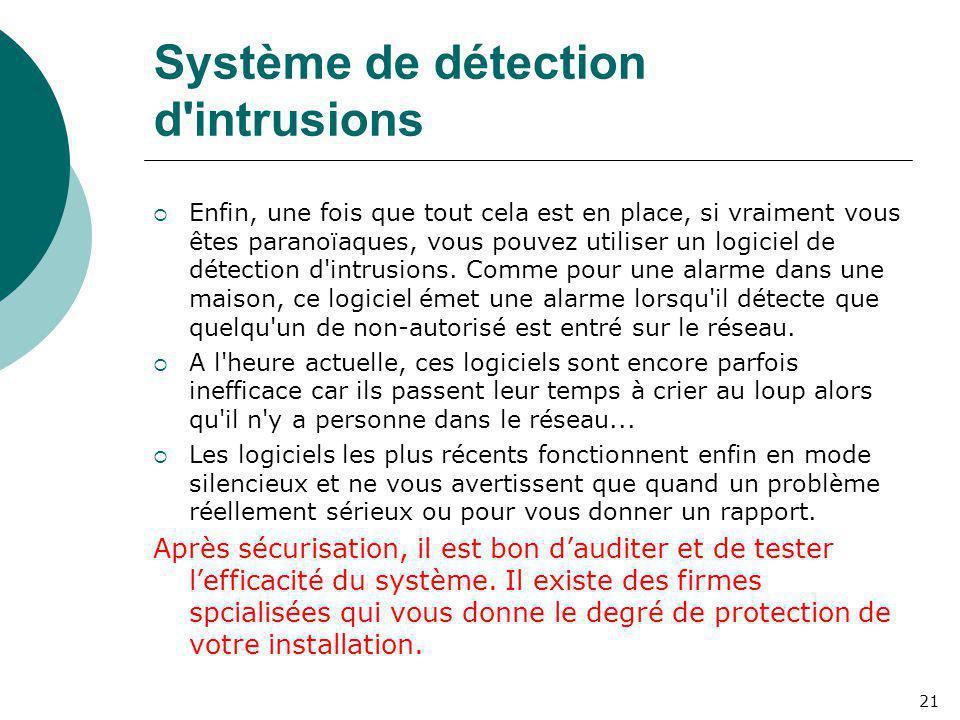 Système de détection d'intrusions  Enfin, une fois que tout cela est en place, si vraiment vous êtes paranoïaques, vous pouvez utiliser un logiciel d