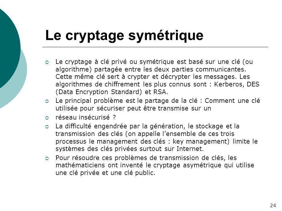 Le cryptage symétrique  Le cryptage à clé privé ou symétrique est basé sur une clé (ou algorithme) partagée entre les deux parties communicantes. Cet