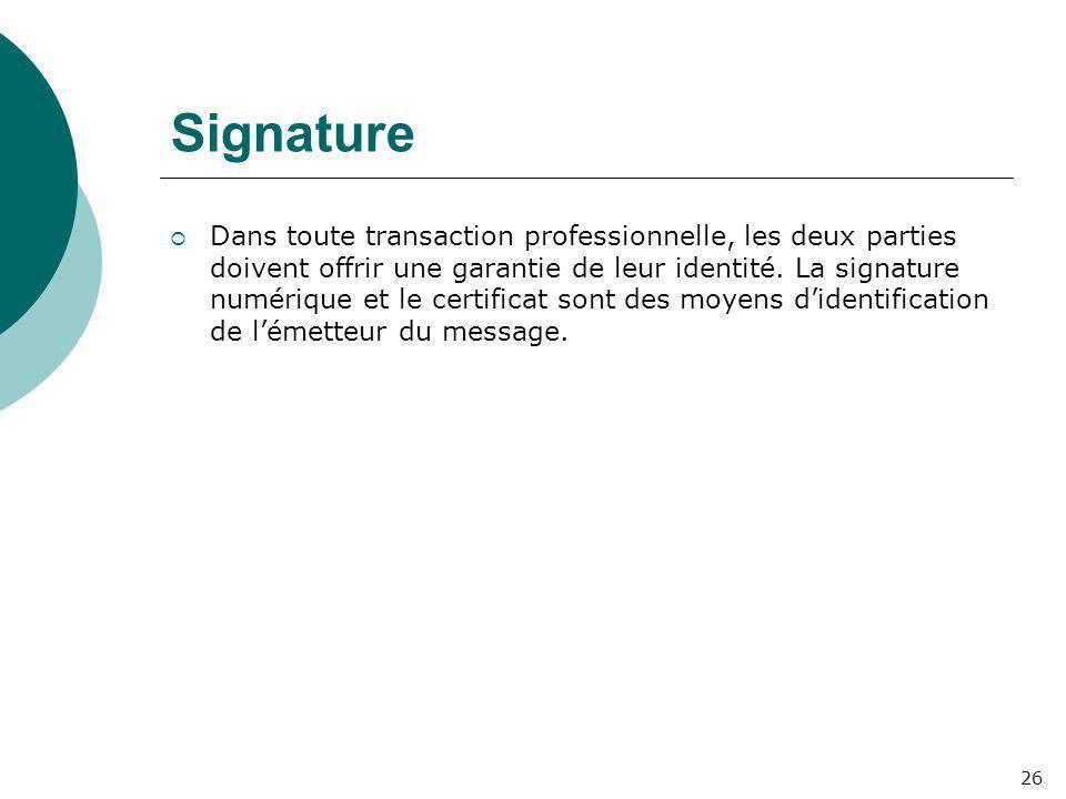 Signature  Dans toute transaction professionnelle, les deux parties doivent offrir une garantie de leur identité. La signature numérique et le certif