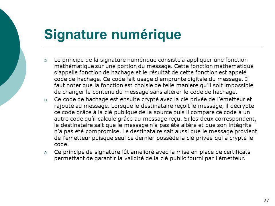 Signature numérique  Le principe de la signature numérique consiste à appliquer une fonction mathématique sur une portion du message. Cette fonction