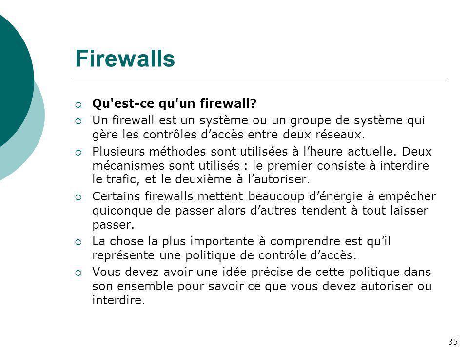 Firewalls  Qu'est-ce qu'un firewall?  Un firewall est un système ou un groupe de système qui gère les contrôles d'accès entre deux réseaux.  Plusie