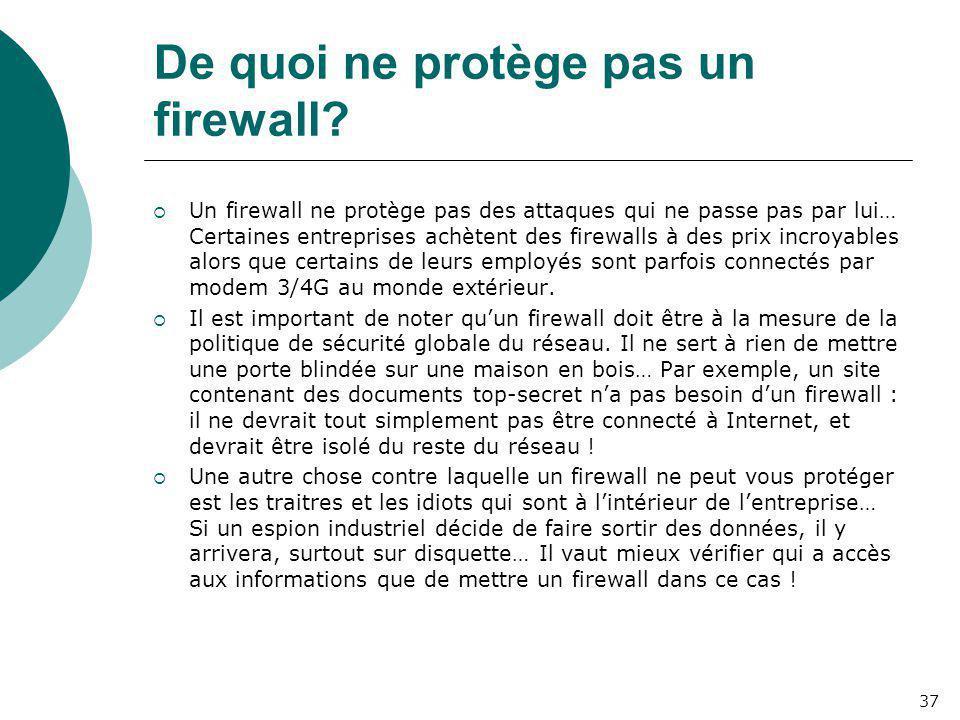De quoi ne protège pas un firewall?  Un firewall ne protège pas des attaques qui ne passe pas par lui… Certaines entreprises achètent des firewalls à