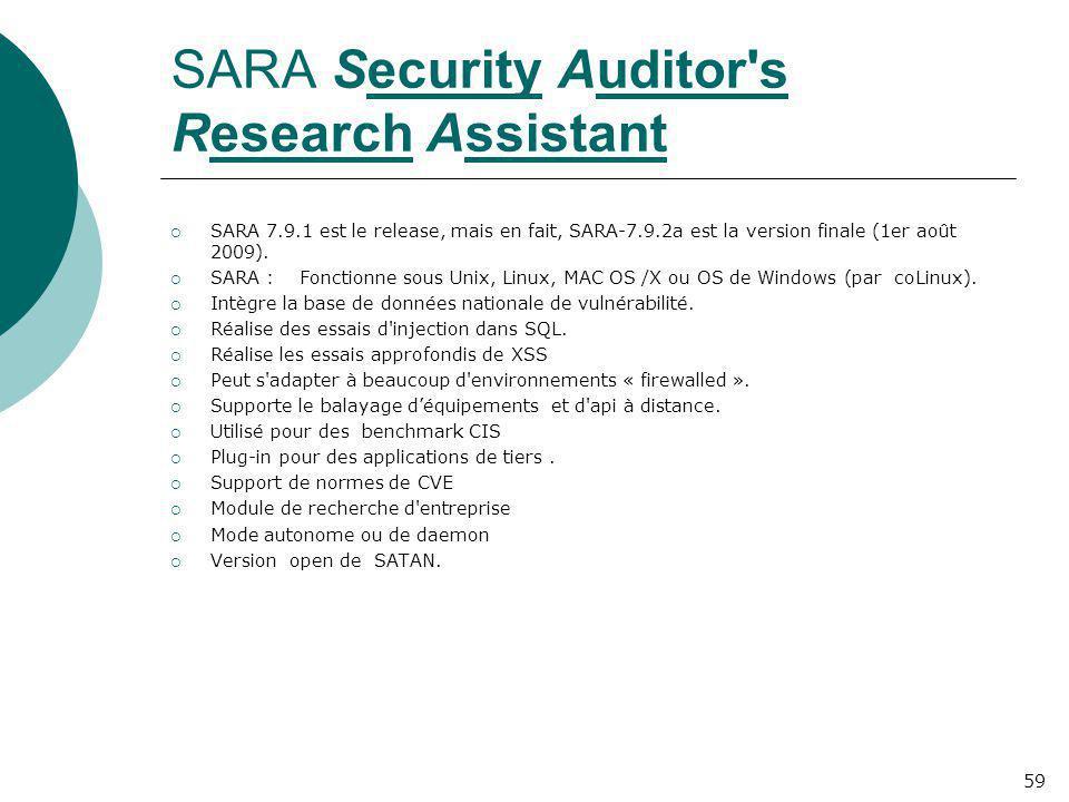 SARA Security Auditor's Research Assistant  SARA 7.9.1 est le release, mais en fait, SARA-7.9.2a est la version finale (1er août 2009).  SARA : Fonc
