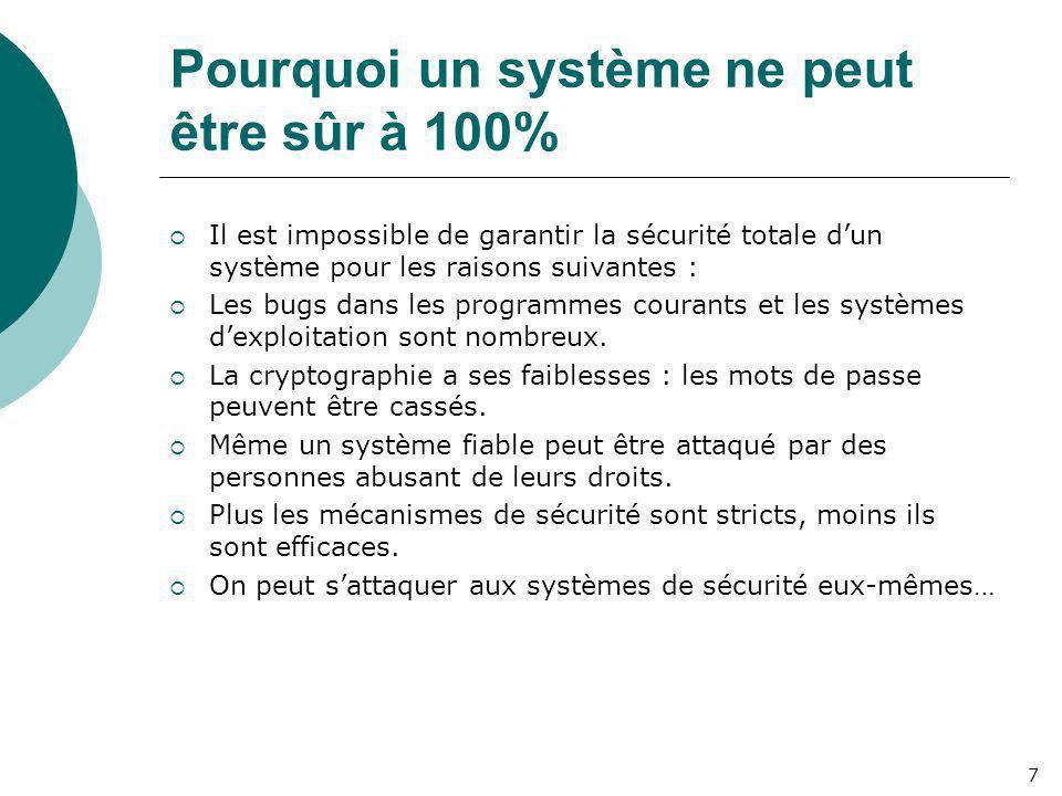 Pourquoi un système ne peut être sûr à 100%  Il est impossible de garantir la sécurité totale d'un système pour les raisons suivantes :  Les bugs da