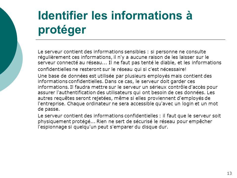 Identifier les informations à protéger Le serveur contient des informations sensibles : si personne ne consulte régulièrement ces informations, il n y a aucune raison de les laisser sur le serveur connecté au réseau...