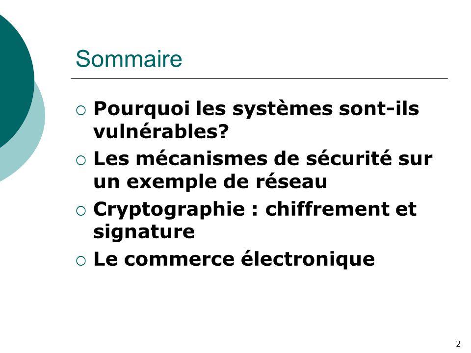 2 Sommaire  Pourquoi les systèmes sont-ils vulnérables?  Les mécanismes de sécurité sur un exemple de réseau  Cryptographie : chiffrement et signat