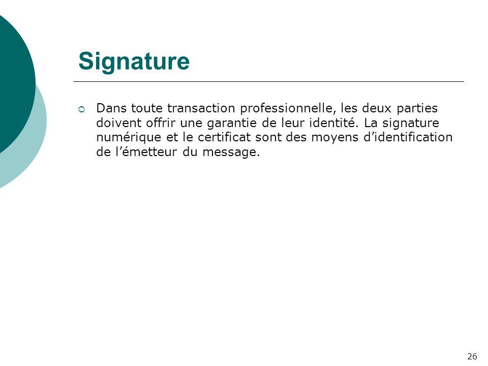 Signature  Dans toute transaction professionnelle, les deux parties doivent offrir une garantie de leur identité.
