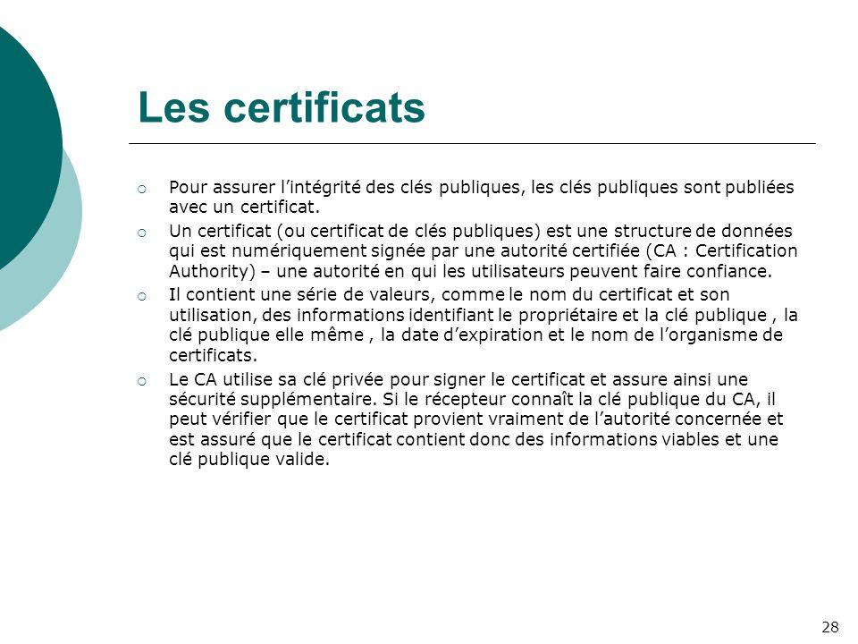 Les certificats  Pour assurer l'intégrité des clés publiques, les clés publiques sont publiées avec un certificat.  Un certificat (ou certificat de