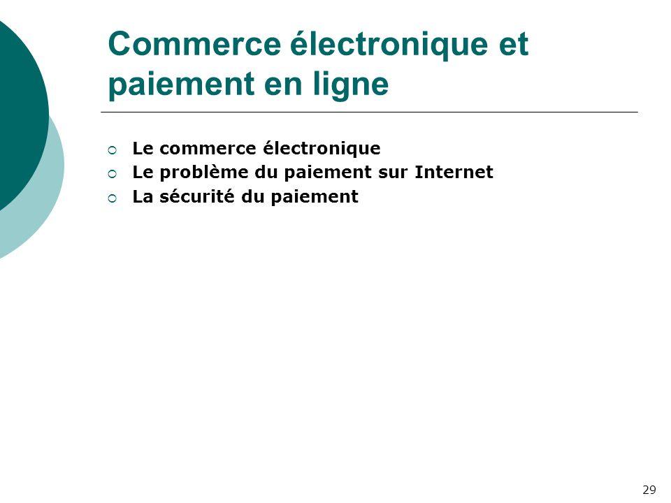Commerce électronique et paiement en ligne  Le commerce électronique  Le problème du paiement sur Internet  La sécurité du paiement 29