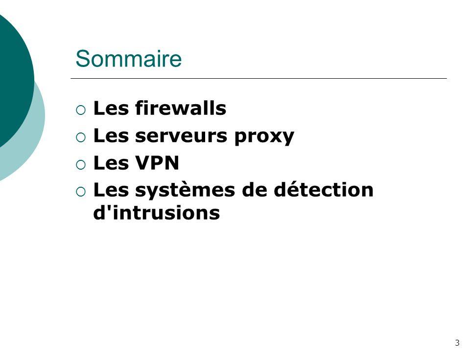 3 Sommaire  Les firewalls  Les serveurs proxy  Les VPN  Les systèmes de détection d'intrusions
