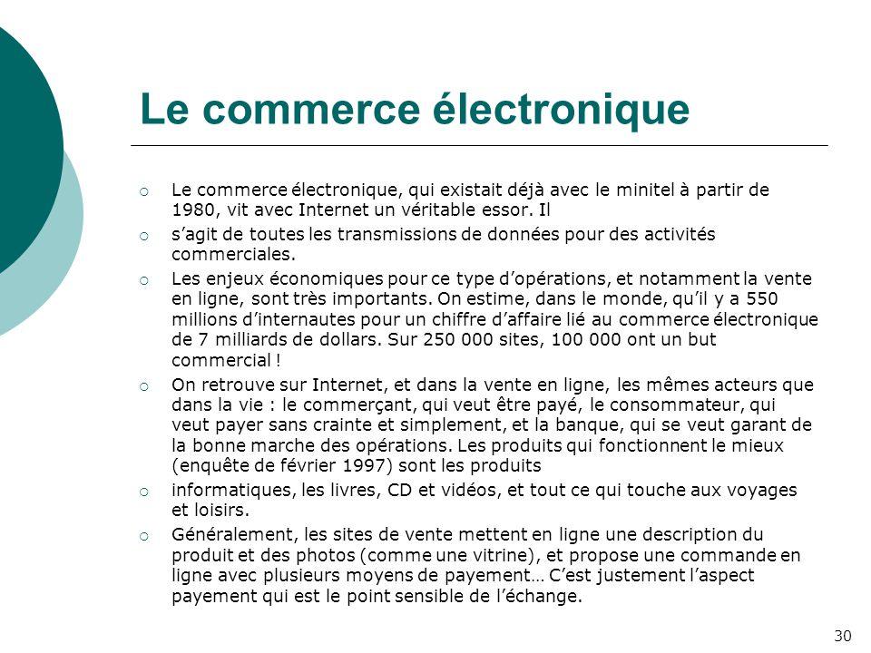 Le commerce électronique  Le commerce électronique, qui existait déjà avec le minitel à partir de 1980, vit avec Internet un véritable essor. Il  s'