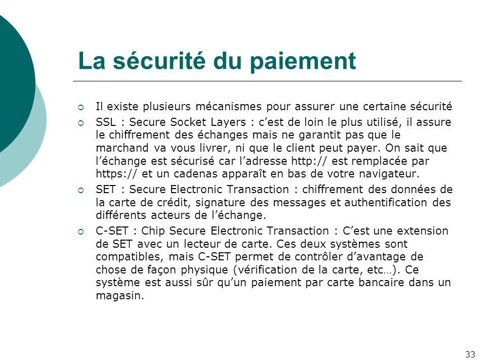 La sécurité du paiement  Il existe plusieurs mécanismes pour assurer une certaine sécurité  SSL : Secure Socket Layers : c'est de loin le plus utilisé, il assure le chiffrement des échanges mais ne garantit pas que le marchand va vous livrer, ni que le client peut payer.