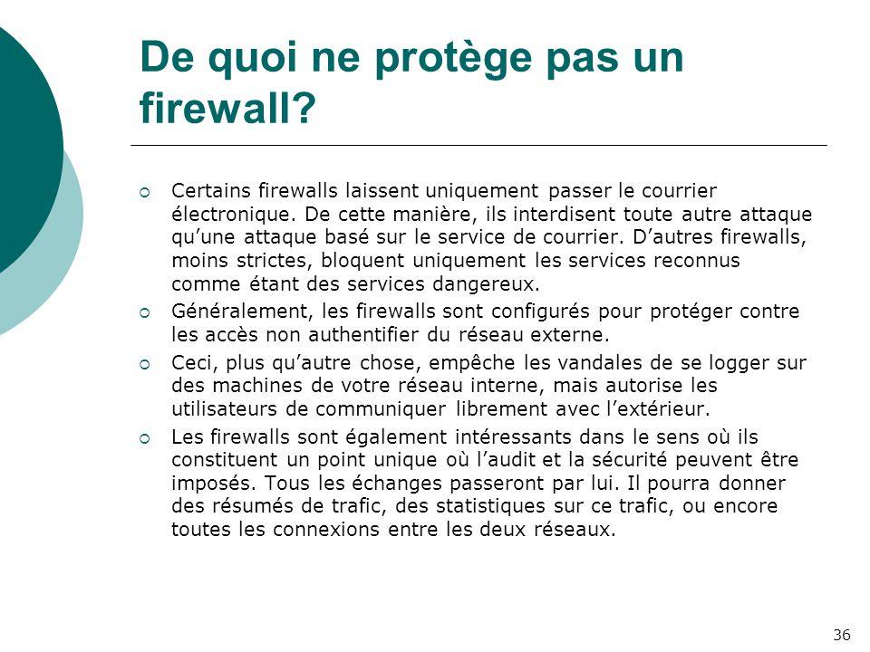 De quoi ne protège pas un firewall?  Certains firewalls laissent uniquement passer le courrier électronique. De cette manière, ils interdisent toute