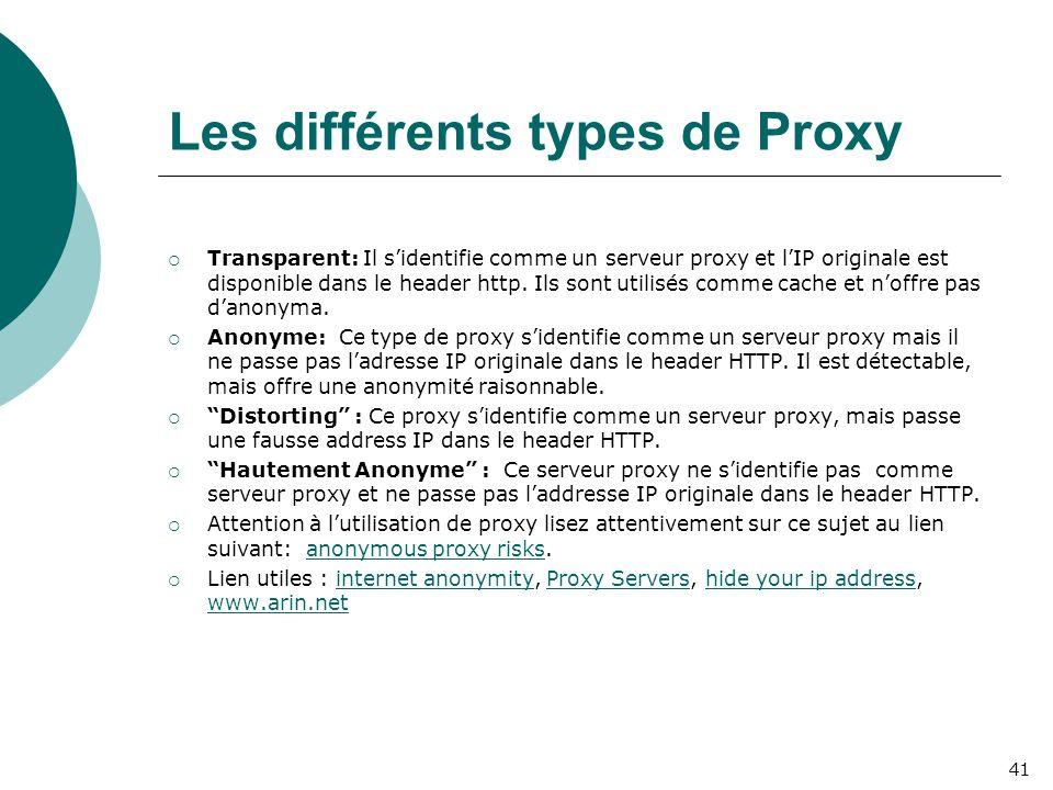 Les différents types de Proxy  Transparent: Il s'identifie comme un serveur proxy et l'IP originale est disponible dans le header http. Ils sont util