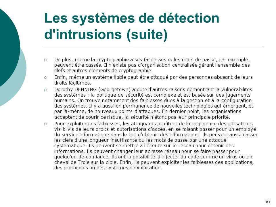 Les systèmes de détection d intrusions (suite)  De plus, même la cryptographie a ses faiblesses et les mots de passe, par exemple, peuvent être cassés.