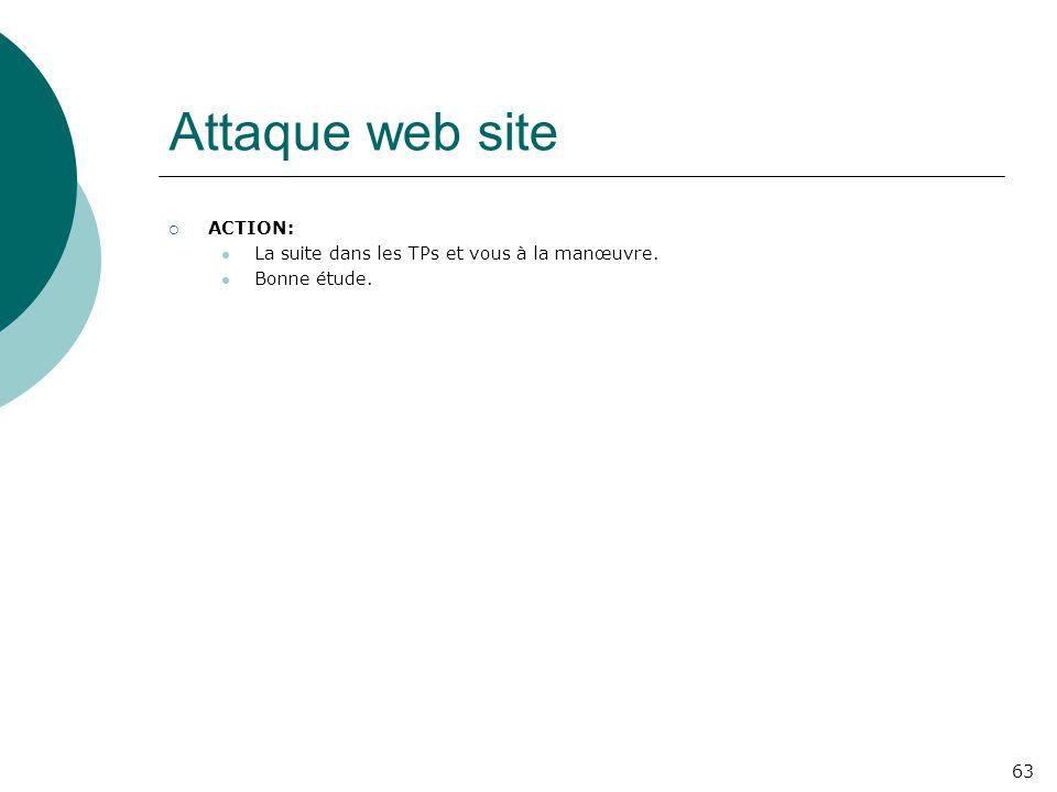 Attaque web site  ACTION: La suite dans les TPs et vous à la manœuvre. Bonne étude. 63