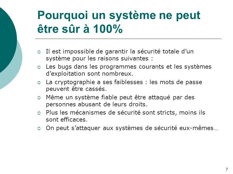 Pourquoi un système ne peut être sûr à 100%  Il est impossible de garantir la sécurité totale d'un système pour les raisons suivantes :  Les bugs dans les programmes courants et les systèmes d'exploitation sont nombreux.