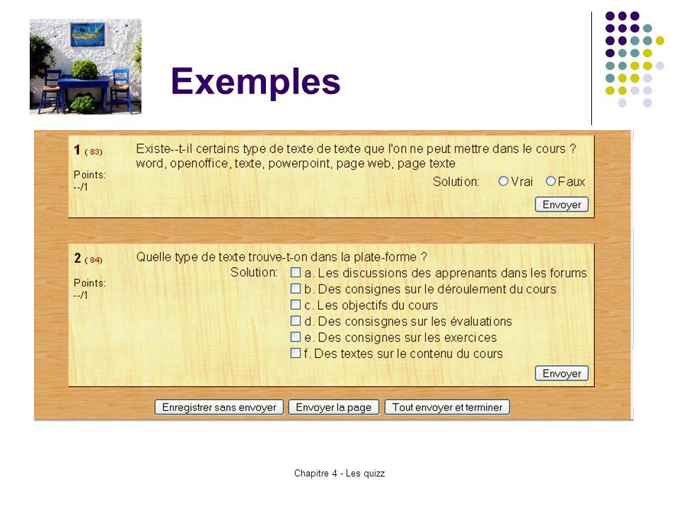 Chapitre 4 - Les quizz Exemples