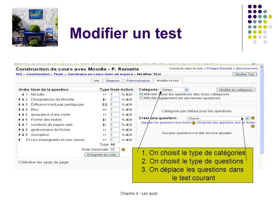 Chapitre 4 - Les quizz Modifier un test 1. On choisit le type de catégories 2. On choisit le type de questions 3. On déplace les questions dans le tes