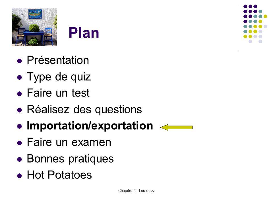 Chapitre 4 - Les quizz Plan Présentation Type de quiz Faire un test Réalisez des questions Importation/exportation Faire un examen Bonnes pratiques Ho