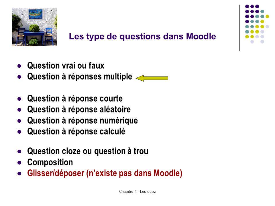 Chapitre 4 - Les quizz Les type de questions dans Moodle Question vrai ou faux Question à réponses multiple Question à réponse courte Question à répon