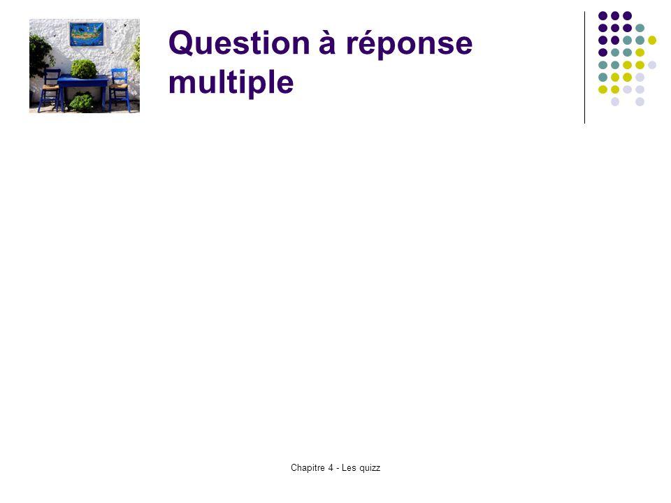 Chapitre 4 - Les quizz Question à réponse multiple