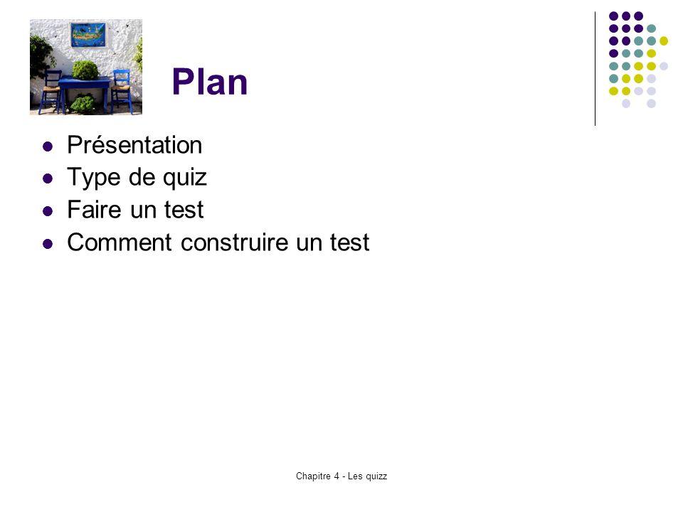 Chapitre 4 - Les quizz Plan Présentation Type de quiz Faire un test Comment construire un test