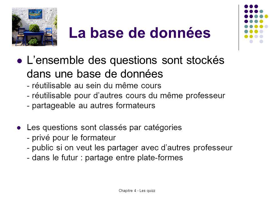 Chapitre 4 - Les quizz La base de données L'ensemble des questions sont stockés dans une base de données - réutilisable au sein du même cours - réutil