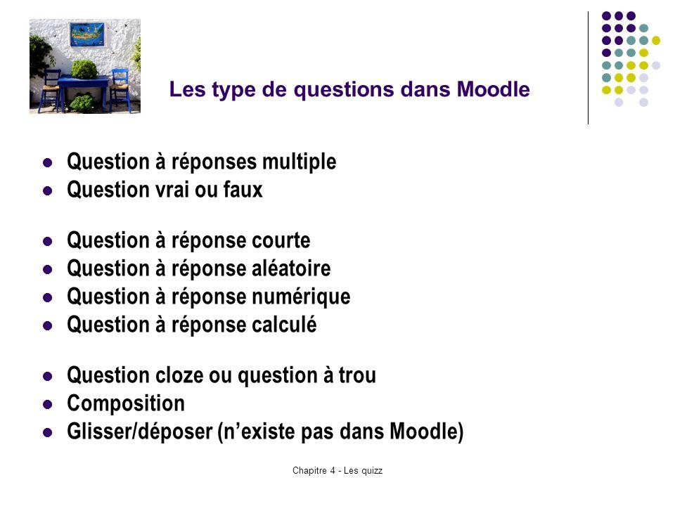 Chapitre 4 - Les quizz Les type de questions dans Moodle Question à réponses multiple Question vrai ou faux Question à réponse courte Question à répon