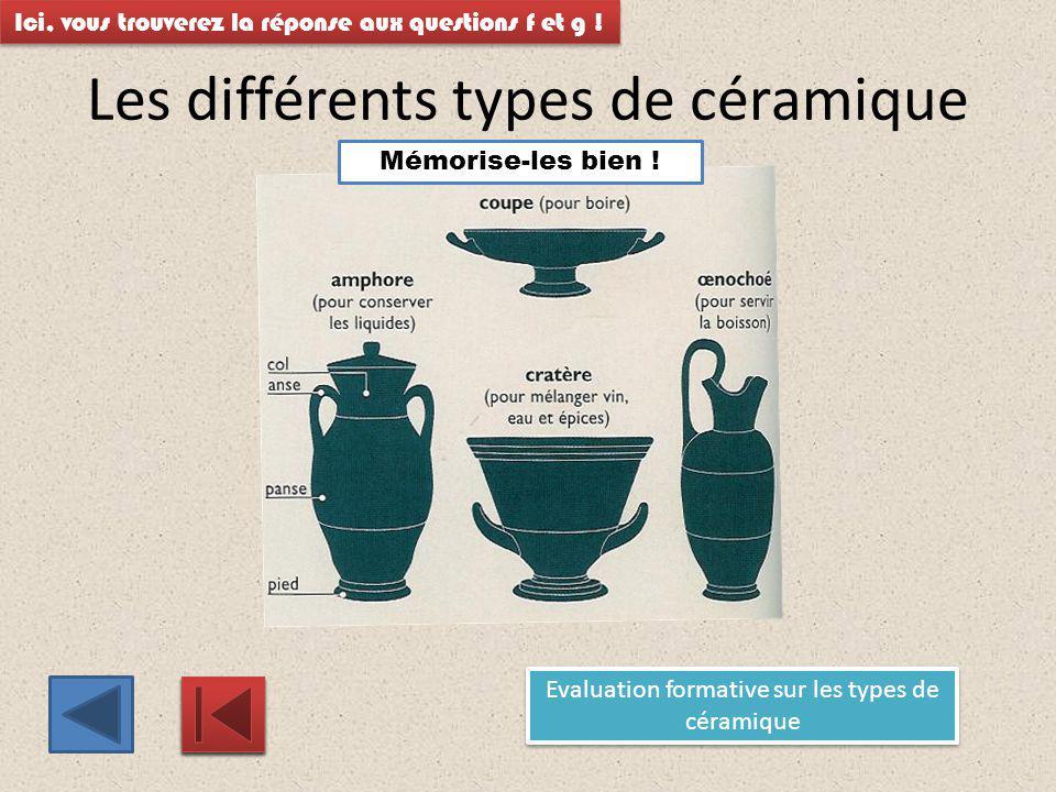 Les différents types de céramique Ici, vous trouverez la réponse aux questions f et g ! Evaluation formative sur les types de céramique Evaluation for