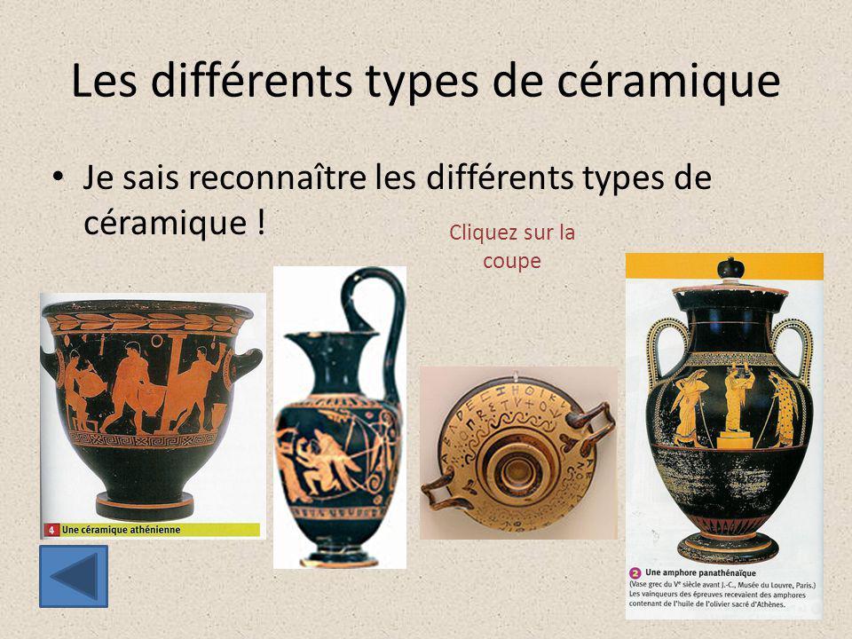 Les différents types de céramique Je sais reconnaître les différents types de céramique ! Cliquez sur la coupe