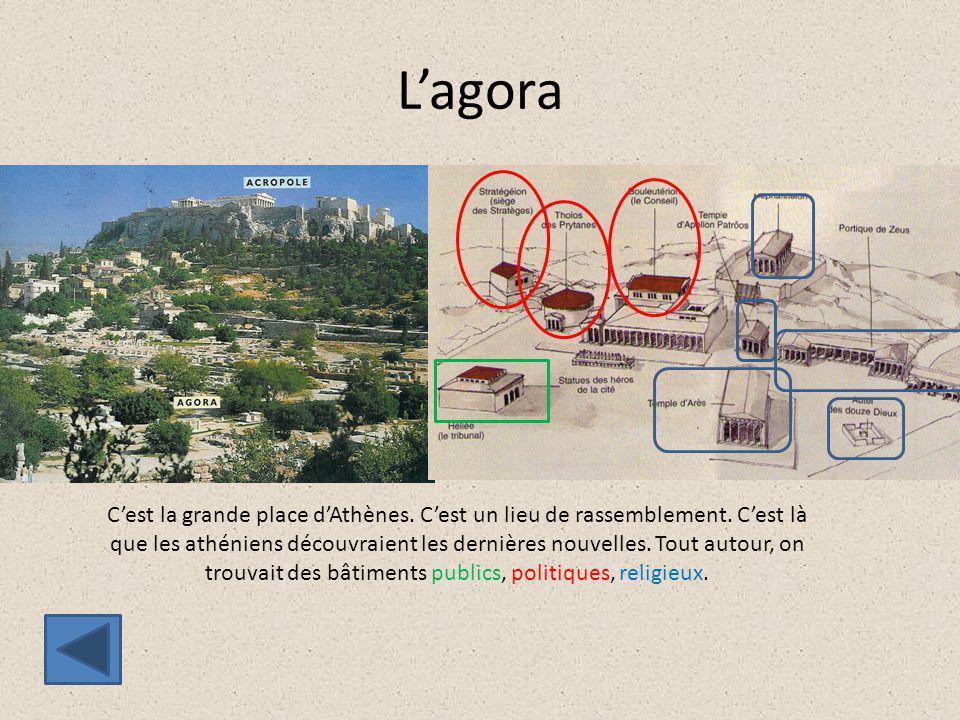 L'agora C'est la grande place d'Athènes. C'est un lieu de rassemblement. C'est là que les athéniens découvraient les dernières nouvelles. Tout autour,