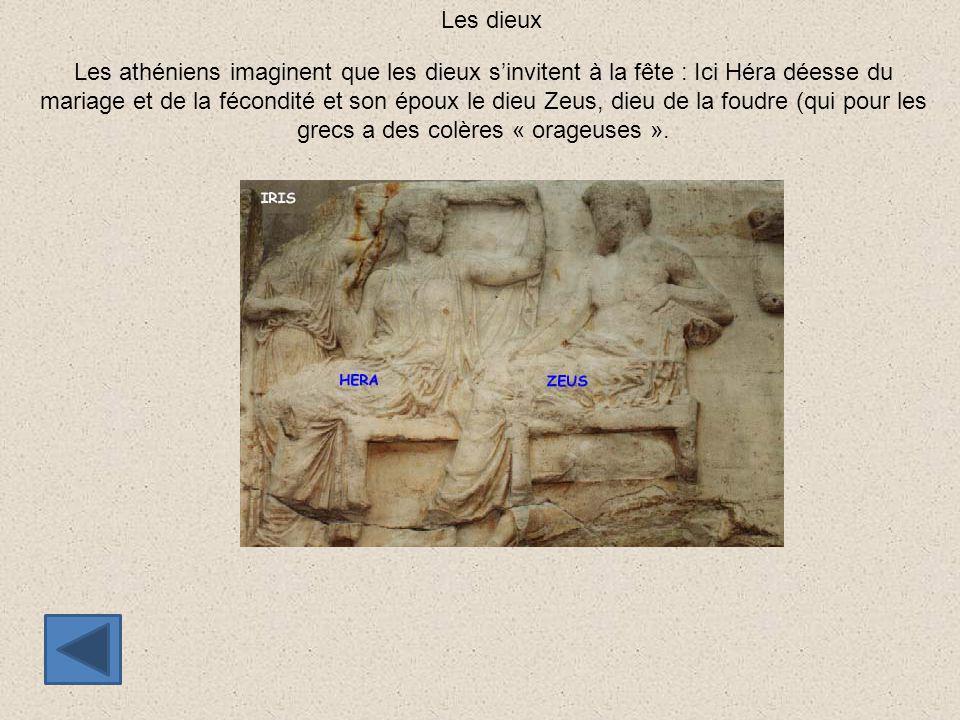 Les athéniens imaginent que les dieux s'invitent à la fête : Ici Héra déesse du mariage et de la fécondité et son époux le dieu Zeus, dieu de la foudr