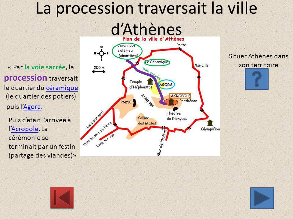 La procession traversait la ville d'Athènes « Par la voie sacrée, la procession traversait le quartier du céramique (le quartier des potiers) Situer A