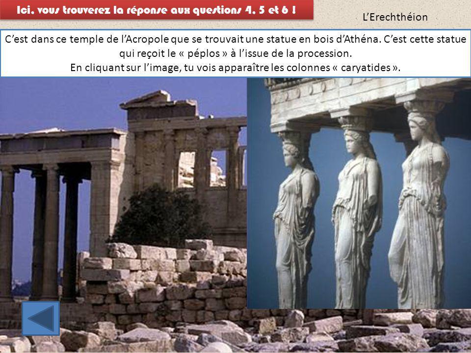 L'Erechthéion C'est dans ce temple de l'Acropole que se trouvait une statue en bois d'Athéna. C'est cette statue qui reçoit le « péplos » à l'issue de