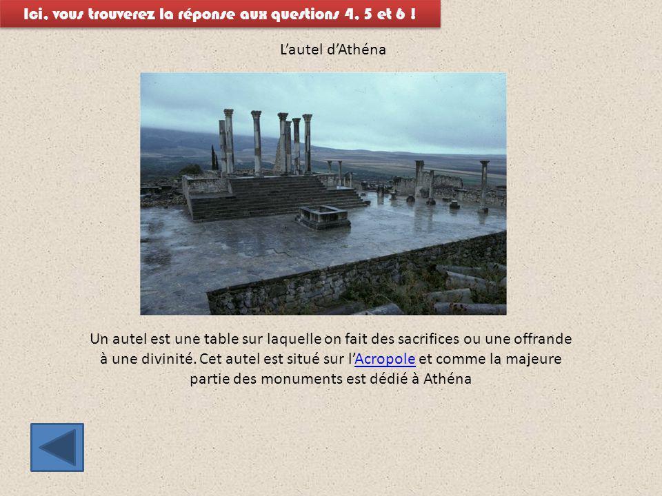L'autel d'Athéna Ici, vous trouverez la réponse aux questions 4, 5 et 6 ! Un autel est une table sur laquelle on fait des sacrifices ou une offrande à