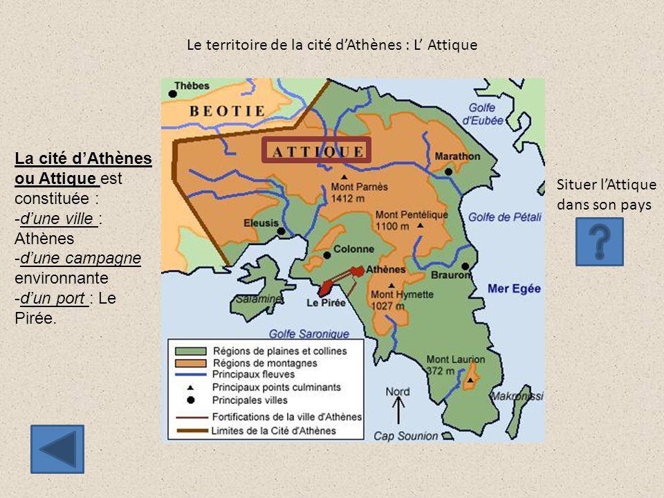 Le territoire de la cité d'Athènes : L' Attique Situer l'Attique dans son pays La cité d'Athènes ou Attique est constituée : -d'une ville : Athènes -d