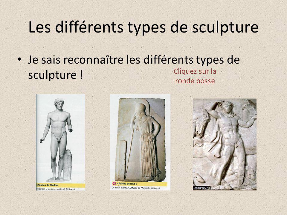 Les différents types de sculpture Je sais reconnaître les différents types de sculpture ! Cliquez sur la ronde bosse