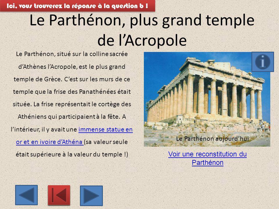 Un mur extérieur du ParthénonParthénon Malheureusement, il ne reste plus sur le Parthénon que quelques plaques de la frise des panathénées sur le côté ouest, les autres ont été dispersées : une vingtaine se trouvent au musée de l Acropole, une au Louvre, à Paris, et le reste (la plus grande partie) au British Museum, à Londres.Parthénon Ici, vous trouverez la réponse à la question b !