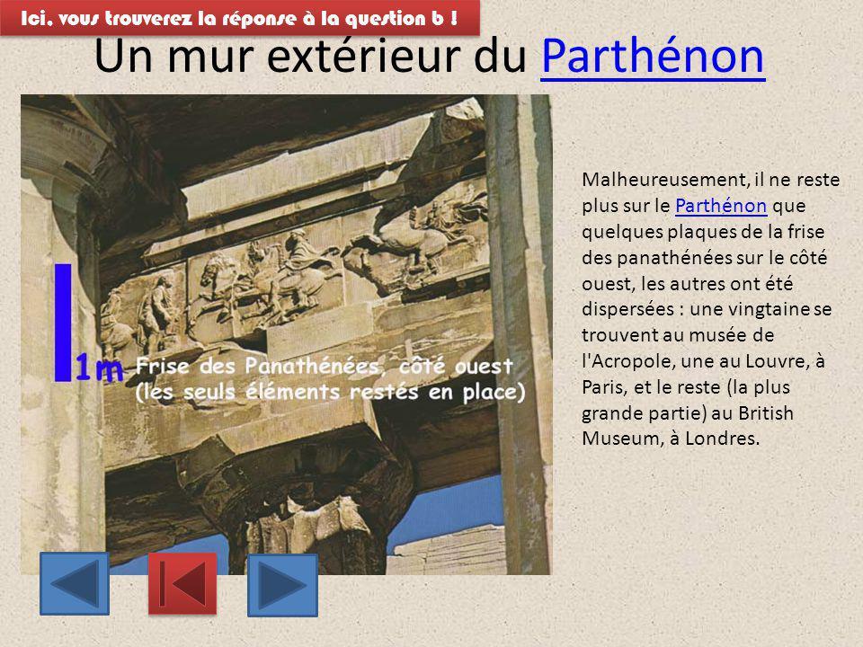 La frise des panathénées La frise des panathénées est une sculpture gravée sur le mur extérieur du Parthénon.