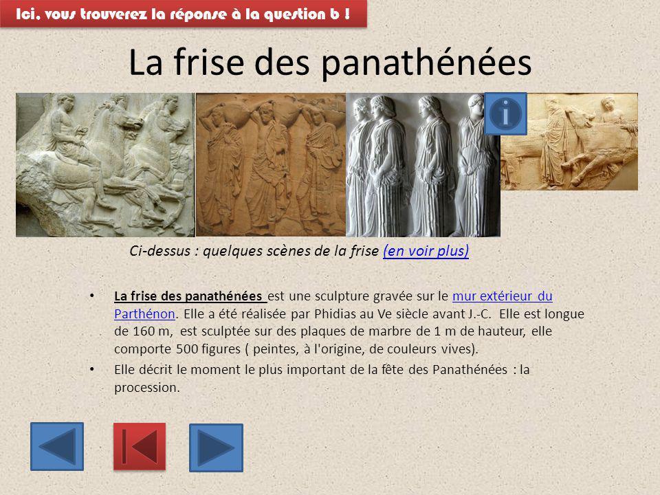 La frise des panathénées La frise des panathénées est une sculpture gravée sur le mur extérieur du Parthénon. Elle a été réalisée par Phidias au Ve si