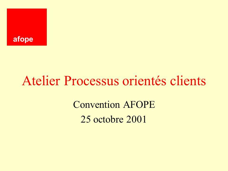 Atelier Processus orientés clients Convention AFOPE 25 octobre 2001 afope