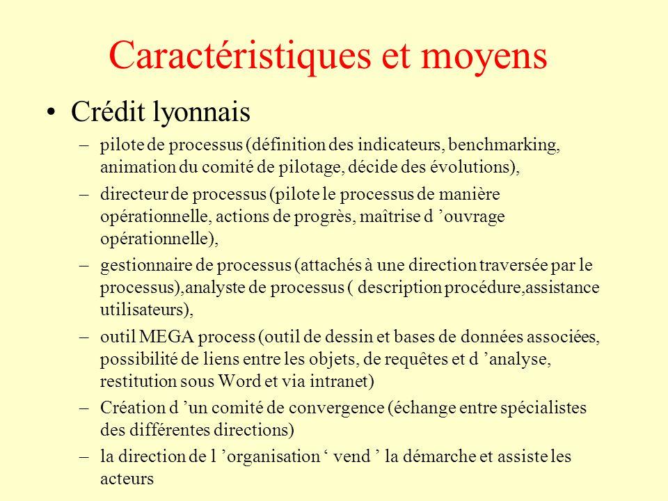 Caractéristiques et moyens Crédit lyonnais –pilote de processus (définition des indicateurs, benchmarking, animation du comité de pilotage, décide des