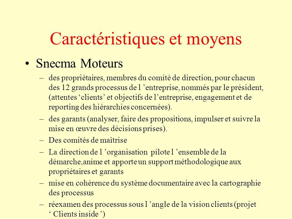Caractéristiques et moyens Snecma Moteurs –des propriétaires, membres du comité de direction, pour chacun des 12 grands processus de l 'entreprise, no