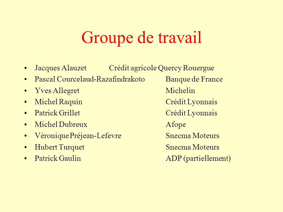 Groupe de travail Jacques Alauzet Crédit agricole Quercy Rouergue Pascal Courcelaud-Razafindrakoto Banque de France Yves Allegret Michelin Michel Raqu