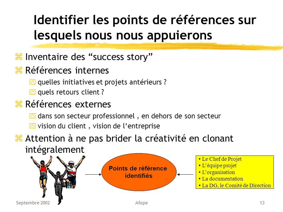 Septembre 2002Afope13 Identifier les points de références sur lesquels nous nous appuierons zInventaire des success story zRéférences internes yquelles initiatives et projets antérieurs .