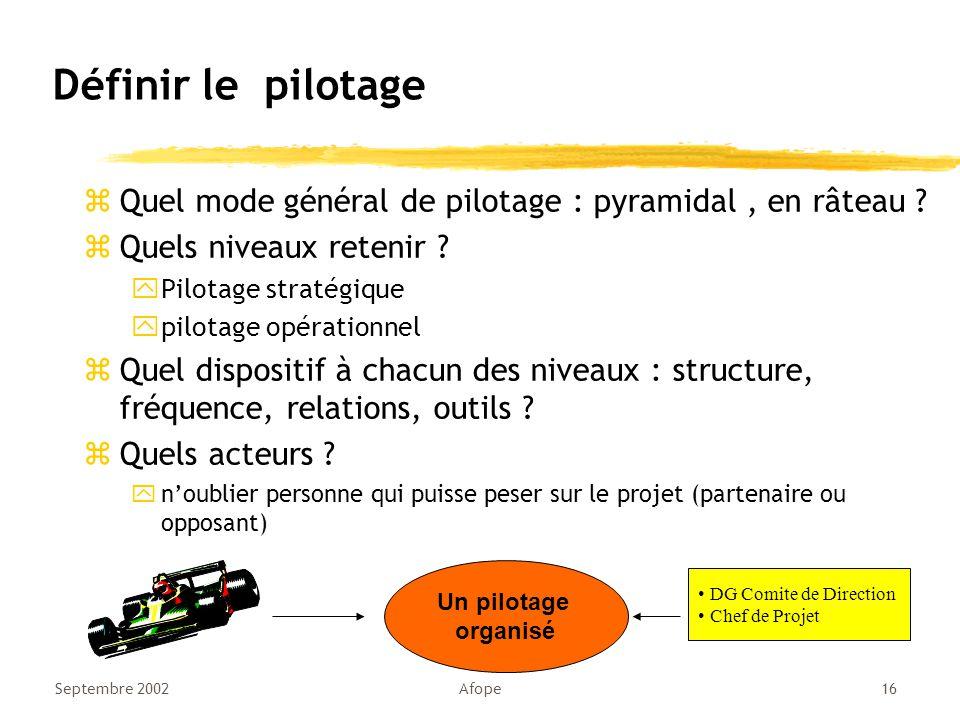 Septembre 2002Afope16 Définir le pilotage zQuel mode général de pilotage : pyramidal, en râteau .