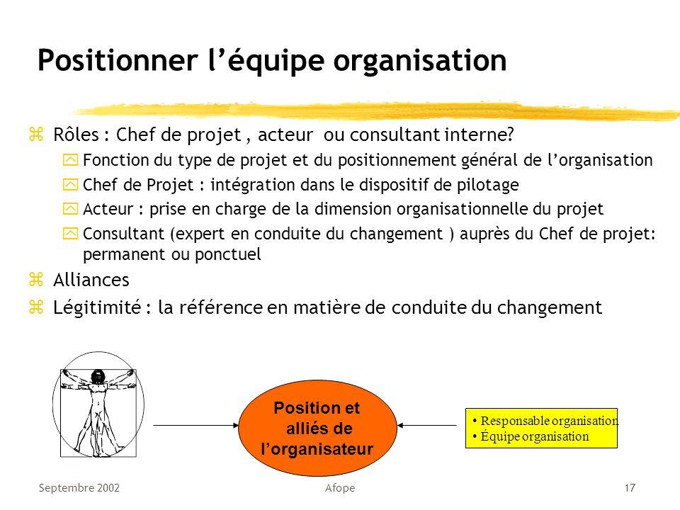 Septembre 2002Afope17 Positionner l'équipe organisation zRôles : Chef de projet, acteur ou consultant interne.