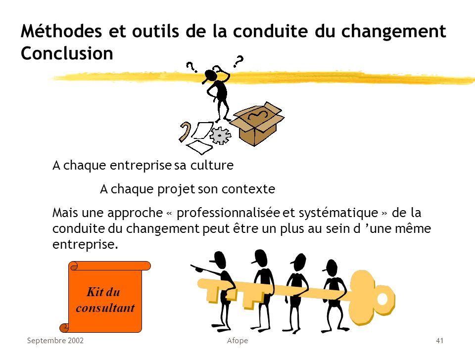 Septembre 2002Afope41 Méthodes et outils de la conduite du changement Conclusion A chaque entreprise sa culture A chaque projet son contexte Mais une approche « professionnalisée et systématique » de la conduite du changement peut être un plus au sein d 'une même entreprise.